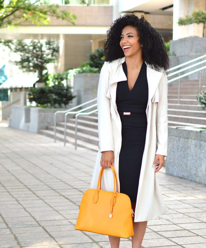 staple pieces for work yellow purse and lbd trench coat for the office