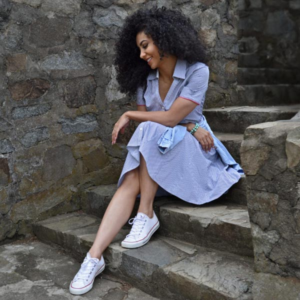 chuck Taylor low rise with button down shirt dress and shirt waist tied