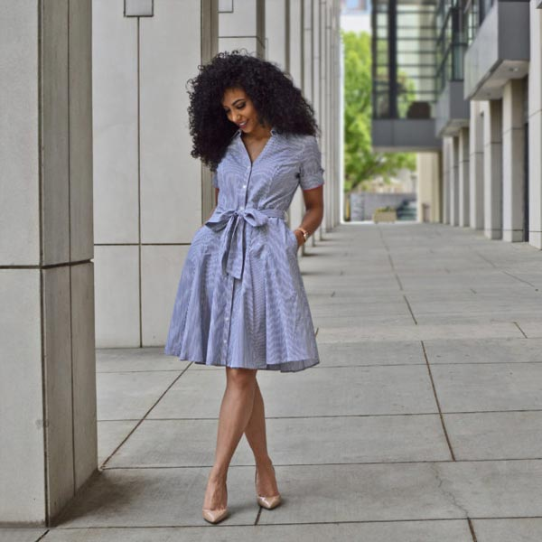 after work outfit blue shirt dress from brooks brothers