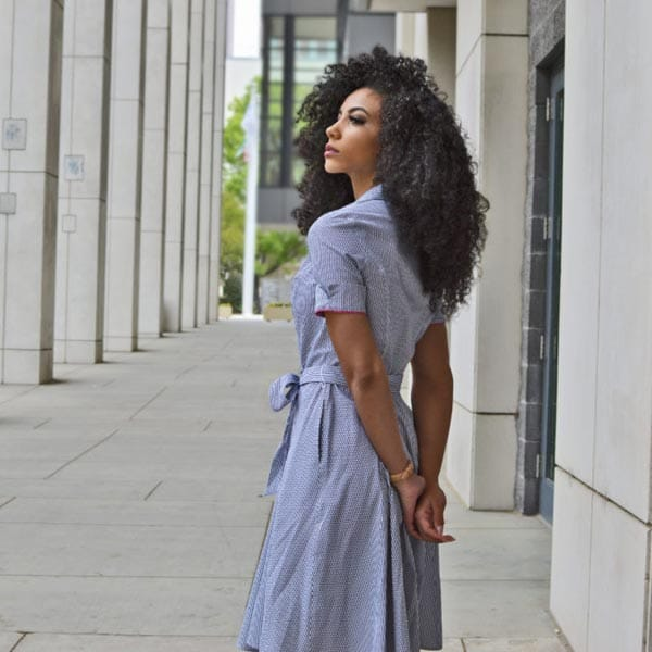 after work outfit blue shirt dress a-line for the office