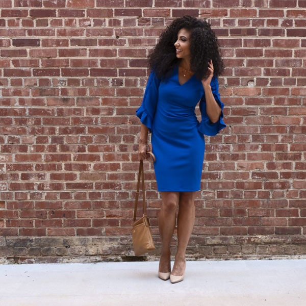 business casual bright electric blue dress for the office work