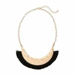 black and gold fringe necklace for work