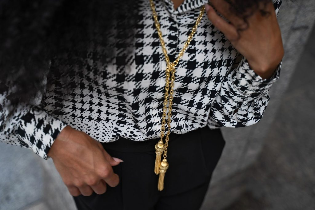 houndstooth blouse Lisi Lerch gold necklace