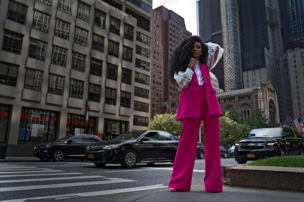 pose on park avenue in bold color vest suit