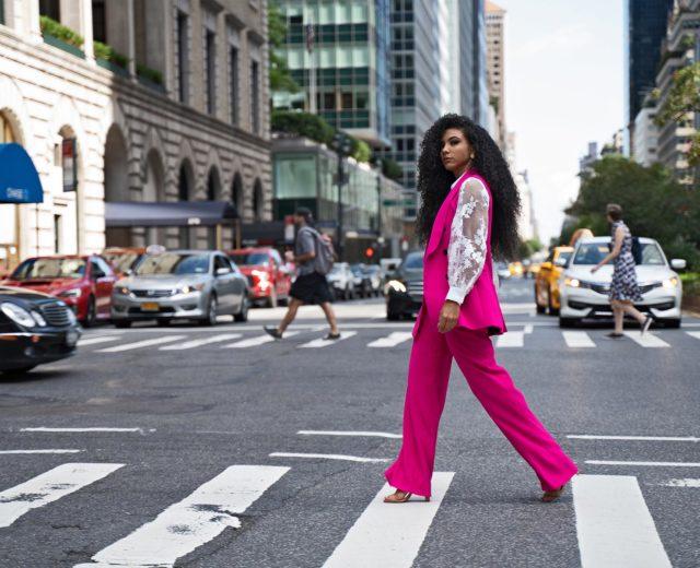 hot pink vest suit street style park avenue
