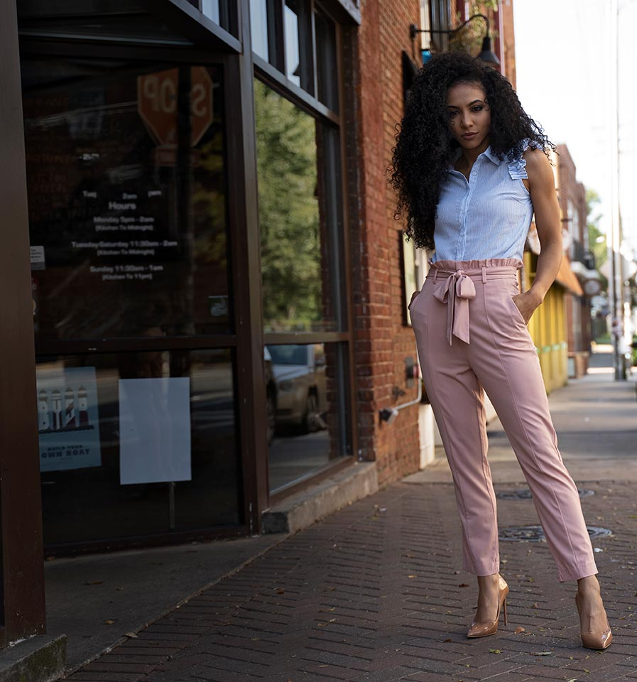 white collar glam pastel work outfit