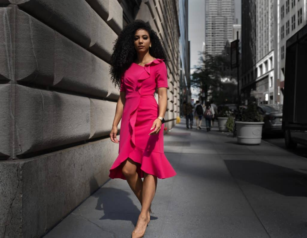 hot pink dress street style
