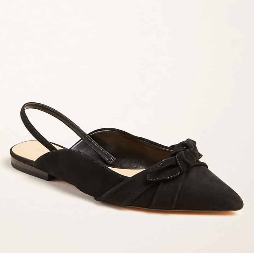 black Ann Taylor suede bow slingback flats