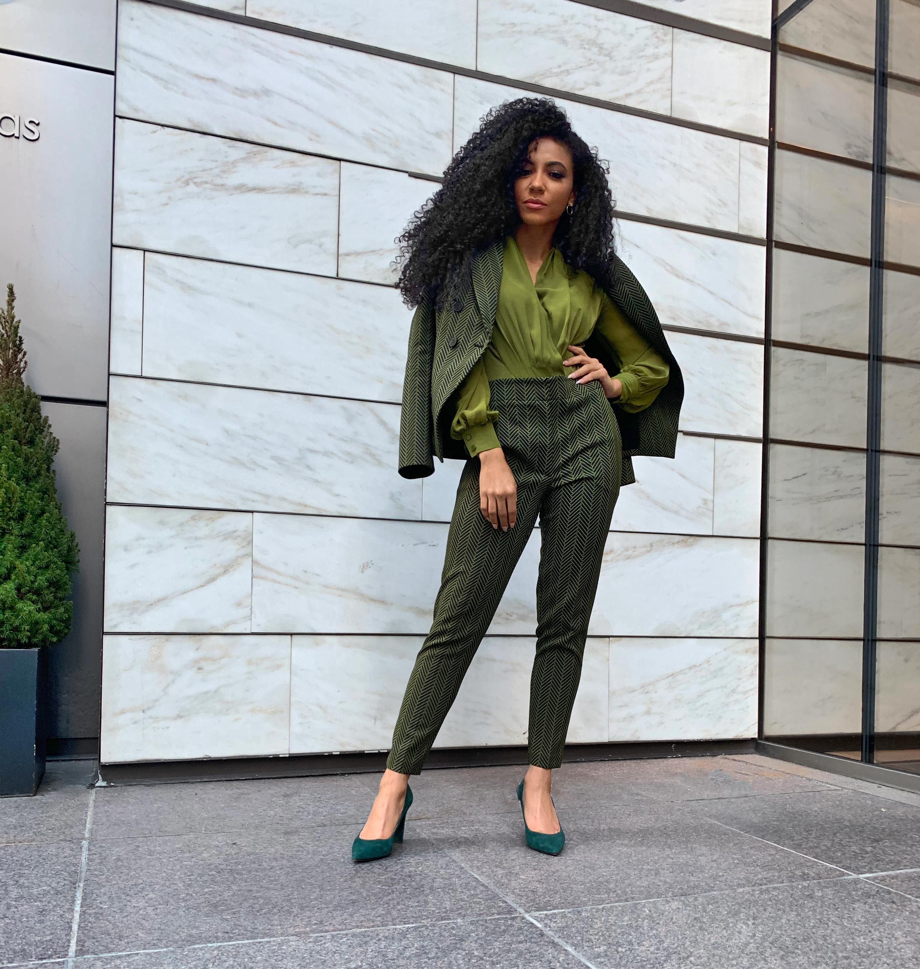 green suit ny&company natural hair office monochromatic